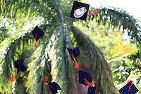 graduation hat toss celebration