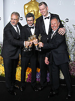 HOLLYWOOD, LOS ANGELES, CA, USA - MARCH 02: Skip Lievsay, Niv Adiri, Christopher Benstead, Chris Munro at the 86th Annual Academy Awards - Press Room held at Dolby Theatre on March 2, 2014 in Hollywood, Los Angeles, California, United States. (Photo by Xavier Collin/Celebrity Monitor)