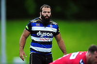 Kane Palma-Newport of Bath Rugby looks on. Pre-season friendly match, between the Scarlets and Bath Rugby on August 20, 2016 at Eirias Park in Colwyn Bay, Wales. Photo by: Patrick Khachfe / Onside Images