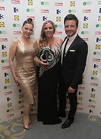 03/06/2014  <br /> Karen Morrisonwho recieved the Teacher of the Year  award from  Shane Filan &amp; Imelda May<br /> during the Pride of Ireland awards at the Mansion House, Dublin.<br /> Photo: Gareth Chaney Collins