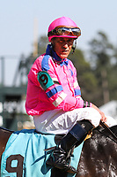 HOT SPRINGS, AR - March 18: Gary Stevens looks around as his mount, Love That Lute, is circled before the winners' circle photo after the pair won the sixth race at Oaklawn Park on March 18, 2017 in Hot Springs, AR. (Photo by Ciara Bowen/Eclipse Sportswire/Getty Images)
