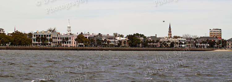 Charleston Battery Row from the Harbor in downtown Charleston South Carolina. Church Steeples.