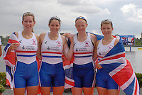 Brandenburg, GERMANY,  GBR BW4-, Bow, Victoria BRYANT, Jacqueline ROUND, Kirsty MYLES and Rachael JEFFERIES, Bronze medalist womens fours at the  2008 FISA U23 World Rowing Championships, Sunday, 20/07/2008, [Mandatory credit: Peter Spurrier Intersport Images]..... Rowing Course: Brandenburg, Havel Rowing Course, Brandenburg, GERMANY