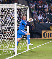 CARSON, CA – August 20, 2011: LA Galaxy goalie Josh Saunders (12) during the match between LA Galaxy and San Jose Earthquakes at the Home Depot Center in Carson, California. Final score LA Galaxy 2, San Jose Earthquakes 0.