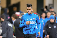 San Jose, CA - Saturday April 08, 2017: Anibal Godoy  prior to a Major League Soccer (MLS) match between the San Jose Earthquakes and the Seattle Sounders FC at Avaya Stadium.