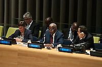 New York City, NY, 26 September 2014 Angela Kane UN hight representative disarmament affairs,and the president of the general assembly Sam Kahamba Kutesa attending the  Commemoration of the first  international day for the total elimination of Nuclear Weapons.  Photo by Joana Toro VIEWpress.