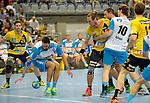 GER - Mannheim, Germany, September 23: During the DKB Handball Bundesliga match between Rhein-Neckar Loewen (yellow) and TVB 1898 Stuttgart (white) on September 23, 2015 at SAP Arena in Mannheim, Germany. Final score 31-20 (19-8) .  Dominik Weiss #6 of TVB 1898 Stuttgart, Kim Ekdahl du Rietz #60 of Rhein-Neckar Loewen, Kasper Kisum #10 of TVB 1898 Stuttgart<br /> <br /> Foto &copy; PIX-Sportfotos *** Foto ist honorarpflichtig! *** Auf Anfrage in hoeherer Qualitaet/Aufloesung. Belegexemplar erbeten. Veroeffentlichung ausschliesslich fuer journalistisch-publizistische Zwecke. For editorial use only.