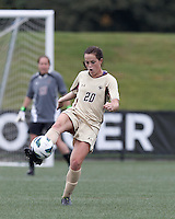 Boston College defender Zoe Lombard (20) clears the ball. Pepperdine University defeated Boston College,1-0, at Soldiers Field Soccer Stadium, on September 29, 2012.