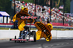 May 5, 2012; Commerce, GA, USA: NHRA top fuel dragster driver Steve Torrence during qualifying for the Southern Nationals at Atlanta Dragway. Mandatory Credit: Mark J. Rebilas-