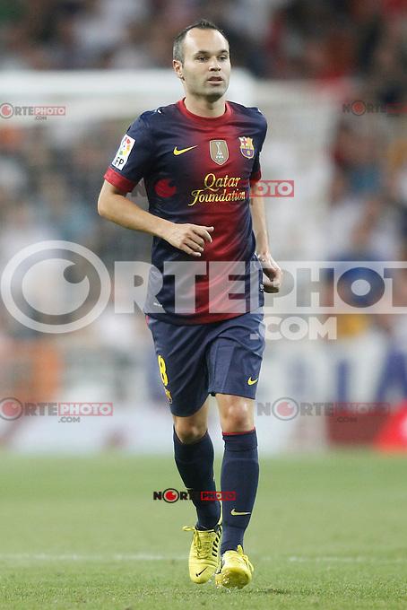 Barcelona's Andr&eacute;s Iniesta during Super Copa of Spain on Agost 29th 2012...Photo:  (ALTERPHOTOS/Ricky) Super Cup match. August 29, 2012. <br />  (foto:ALTERPHOTOS/NortePhoto.com<br /> <br /> **CREDITO*OBLIGATORIO** <br /> *No*Venta*A*Terceros*<br /> *No*Sale*So*third*<br /> *** No*Se*Permite*Hacer*Archivo**<br /> *No*Sale*So*third*