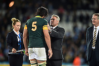 Victor Matfield of South Africa receives his bronze medal from RFU President Jason Leonard after the match. Rugby World Cup Bronze Final between South Africa and Argentina on October 30, 2015 at The Stadium, Queen Elizabeth Olympic Park in London, England. Photo by: Patrick Khachfe / Onside Images