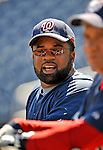 17 August 2008: Washington Nationals' hitting coach Lenny Harris watches batting practice prior to facing the Colorado Rockies at Nationals Park in Washington, DC.  The Rockies defeated the Nationals 7-2, sweeping the 3-game series, and handing the last place Nationals their 10th consecutive loss. ..Mandatory Photo Credit: Ed Wolfstein Photo