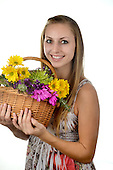 Healthy Vibrant Woman with flowers
