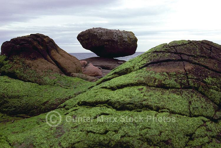 "Haida Gwaii (Queen Charlotte Islands), Northern BC, British Columbia, Canada - ""Balance Rock"" at Low Tide, near Skidegate on Graham Island"