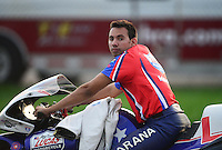 Sept. 1, 2012; Claremont, IN, USA: NHRA pro stock motorcycle rider Hector Arana Jr during qualifying for the US Nationals at Lucas Oil Raceway. Mandatory Credit: Mark J. Rebilas-