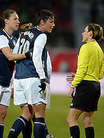 Offenbach, Germany, Friday, April 05 2013: Womans, Germany vs. USA, in the Stadium in Offenbach,  Abby Wambach (USA) against the Referee..