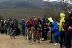Tim Wellens (BEL) Lotto-Soudal, Greg Van Avermaet (BEL) BMC Racing, Zdenek Stybar (CZE) Quick-Step Floors and Michal Kwiatkowski (POL) Team Sky climb gravel sector 11 Le Tolfe during the 2017 Strade Bianche running 175km from Siena to Siena, Tuscany, Italy 4th March 2017.<br /> Picture: La Presse/Fabio Ferrari | Newsfile<br /> <br /> <br /> All photos usage must carry mandatory copyright credit (&copy; Newsfile | La Presse)