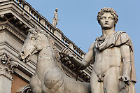 Statue of the Dioscures twins (Castor and Pollux), 1583, Piazza del Campidoglio (Capitoline Hill), Rome, Italy. Picture by Manuel Cohen