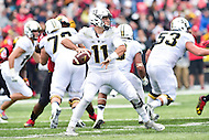 College Park, MD - OCT 1, 2016: Purdue Boilermakers quarterback David Blough (11) looks downfield for a receiver during game between Maryland and Purdue at Capital One Field at Maryland Stadium in College Park, MD. The Terps got the win 50-7 over visiting Purdue. (Photo by Phil Peters/Media Images International)