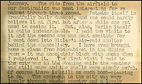 BNPS.co.uk (01202 558833)<br /> Pic: C&amp;T/BNPS<br /> <br /> Brenda's letter to an Aunt describing Berlin.<br /> <br /> A humble secretary's remarkable first hand archive of some of the most momentous events of WW2 has come to light.<br /> <br /> 'Miss Brenda Hart' worked in the Cabinet Office during the last two years of the war, travelling across the globe with the Allied leaders as the conflict drew to a close.<br /> <br /> Her unique collection of photographs and momentoes of Churchill, Stalin and other prominent Second World War figures have been unearthed after more than 70 years.<br /> <br /> The scrapbooks, which also feature Lord Mountbatten and Vyacheslav Molotov, were collated by Brenda Hart who, in her role as secretary to Churchill's chief of staff General Hastings Ismay, enjoyed incredible access to him and other world leaders.<br /> <br /> She also wrote a series of letters which give fascinating insights, including watching Churchill and Stalin shaking hands at the Bolshoi ballet in 1944, being behind Churchill as he walked out on to the balcony at the Ministry of Health to to wave to some 50,000 Londoners on VE day and even visiting Hitler's bombed out Reich Chancellery at the end of the war.<br /> <br /> This unique first hand account, captured in a collection of photos, passes, documents and letters are being sold at C&amp;T auctioneers on15th March with a &pound;1200 estimate.
