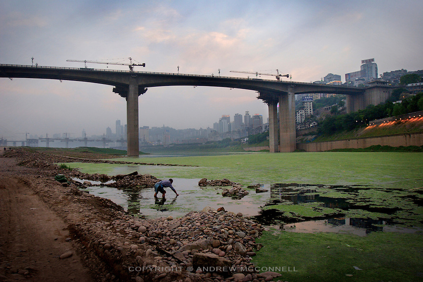 A man works in the shallows of the Yangzte river at Chongqing