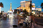Editorial Travel Photography: drummer playing on sidewalk at night on Las Vegas Strip, Nevada, USA