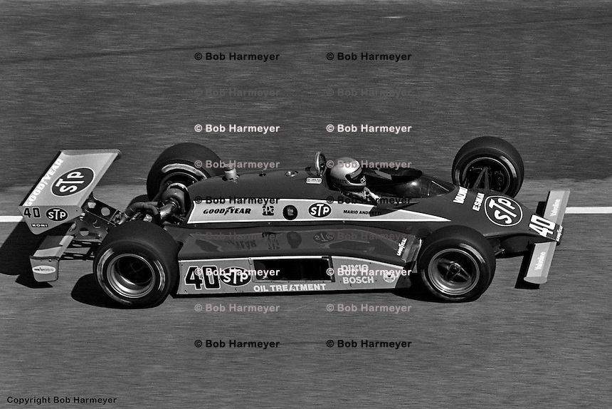 HAMPTON, GA - MAY 1: Mario Andretti drives his Wildcat VIIIB/Cosworth during the 1982 Stroh's 200 on May 1, 1982, at the Atlanta Motor Speedway near Hampton, Georgia.