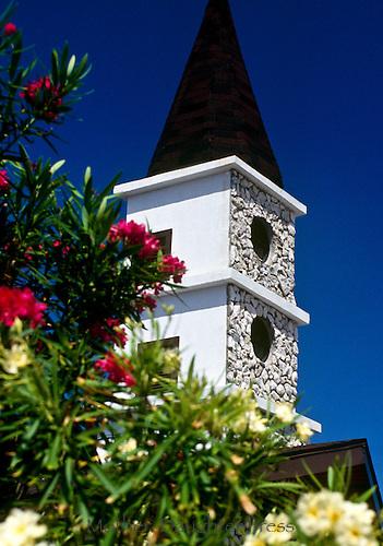 Church steeple with oleander plantings, Nerium oleander, Grand Cayman Island