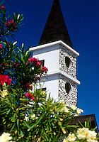 Church steeple with oleander plantings, Nerium oleander, Grand Cayman Island