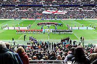 Picture by Simon Wilkinson/SWpix.com - 23/11/2013 - Rugby League - Rugby League World Cup Semifinals - New Zealand v England - Wembley Stadium, London, England - New Zealand and England lineup for anthems. GV, General View.