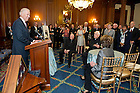 May 22, 2013; Vice President Joe Biden speaks during a special reception for Emeritus Rev. Theodore M. Hesburgh, C.S.C., (center) celebrating his 96th birthday in the Rayburn Room of the U.S. Capitol. The reception was also held to a honor his 70th anniversary as a priest of the Congregation of Holy Cross. Photo by Barbara Johnston/University of Notre Dame