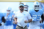 24 September 2016: UNC head coach Larry Fedora leads his team onto the field. The University of North Carolina Tar Heels hosted the University of Pittsburgh Panthers at Kenan Memorial Stadium in Chapel Hill, North Carolina in a 2016 NCAA Division I College Football game.
