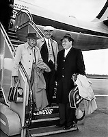 Special for Aer Lingus - Arrival from new York of Barry Fitzgerald and J. J. O'Leary and Jack Feeney (John Ford).02/05/1959..Barry Fitzgerald (10 March 1888 - 14 January 1961) was an Irish stage, film, and television actor...J.J. O'Leary was Fitzgerald's best friend, the owner of a printing works...John Ford (February 1, 1894 - August 31, 1973) was an American film director. He was famous for both his westerns such as Stagecoach, The Searchers, and The Man Who Shot Liberty Valance, and adaptations of such classic 20th-century American novels as The Grapes of Wrath. His four Academy Awards for Best Director (1935, 1940, 1941, 1952) is a record, and one of those films, How Green Was My Valley, also won Best Picture..In a career that spanned more than 50 years, Ford directed more than 140 films (although nearly all of his silent films are now lost) and he is widely regarded as one of the most important and influential filmmakers of his generation. Ford's films and personality were held in high regard by his colleagues, with Ingmar Bergman and Orson Welles among those who have named him as one of the greatest directors of all time..In particular, Ford was a pioneer of location shooting and the long shot which frames his characters against a vast, harsh and rugged natural terrain..Ford was born John Martin &quot;Jack&quot; Feeney (though he later often gave his given names as Sean Aloysius, sometimes with surname O'Feeny or O'Fearna; an Irish language equivalent of Feeney).
