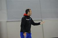 SCHAATSEN: SALT LAKE CITY: Utah Olympic Oval, 13-11-2013, Essent ISU World Cup, training, Jan van Veen (trainer/coach Team Corendon), ©foto Martin de Jong
