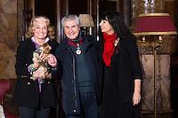 EXCLUSIF : NO WEB, NO BLOG : Martine Lelouch ( et le chien Lola ), Claude Lelouch, Val&eacute;rie Perrin.<br /> Claude Lelouch honor&eacute; pour ses 50 ans de carri&egrave;re, lors de la seconde &eacute;dition du Festival International du Film de Bruxelles, apr&egrave;s avoir re&ccedil;u plus t&ocirc;t dans la journ&eacute;e, l'hommage de la ville par Yvan Mayeur mais aussi la plus haute distinction  distinguant les artistes en devenant Commandeur de l'Ordre Leopold au cours d' une c&eacute;r&eacute;monie officielle au Palais d'Egmont. <br /> Belgique, Bruxelles, 23 novembre 2016.<br /> EXCLUSIVE : NO WEB, NO BLOG :<br /> French director &amp; producer Claude Lelouch is honored for his 50-year career, at the &quot; 2th Edition of the Brussels Film Festival &quot;.<br /> Earlier in the day, Claude Lelouch was awarded ' Commander of the Order '.<br /> Belgium, Brussels, 23 November 2016