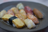 Shimazushi, or Island Sushi, topped with locally caught fish on Niijima, Tokyo, Japan.