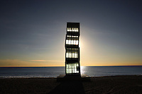 L'Estel Ferit (the wounded star of the injured comet); commissionned for the Olympics in 1992; created by Rebecca Horn (Michelstadt, Germany, 1944), Barceloneta Beach, Barcelona, Catalonia, Spain; Four steel cubes stacked one above the other, 2,4 meters high. Picture by Manuel Cohen