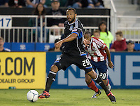 Victor Bernardez of Earthquakes in action during the game against Chivas USA at Buck Shaw Stadium in Santa Clara, California on September 2nd, 2012.   San Jose Earthquakes defeated Chivas USA, 4-0.