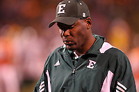 Oct 23, 2010; Charlottesville, VA, USA;  Eastern Michigan Eagles head coach Ron English reacts after being called for a personal foul during the 2nd half of the game against the Virginia Cavaliers at Scott Stadium. Virginia won 48-21. Mandatory Credit: Andrew Shurtleff