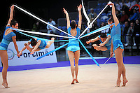 Senior rhythmic group from Bulgaria performs at 2010 World Cup at Portimao, Portugal on March 13, 2010.  (Photo by Tom Theobald).