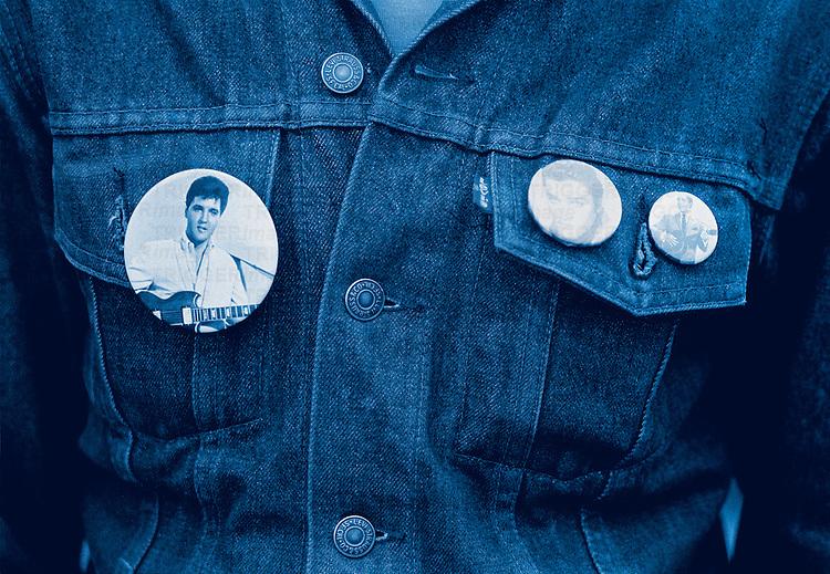 Badges of Elvis Presley on a denim jacket