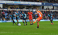 Blackpool's Brad Potts takes this penalty which is saved by Wycombe Wanderers' Jamal Blackman (not in picture)<br /> <br /> Photographer Kevin Barnes/CameraSport<br /> <br /> The EFL Sky Bet League Two - Wycombe Wanderers v Blackpool - Saturday 11th March 2017 - Adams Park - Wycombe<br /> <br /> World Copyright &copy; 2017 CameraSport. All rights reserved. 43 Linden Ave. Countesthorpe. Leicester. England. LE8 5PG - Tel: +44 (0) 116 277 4147 - admin@camerasport.com - www.camerasport.com