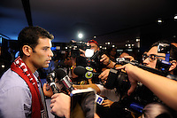 New York Red Bulls new signing Rafael Marquez answers questions during a New York Red Bulls press conference at Red Bull Arena in Harrison, NJ, on August 03, 2010.