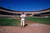 SAN FRANCISCO, CA - Will Clark of the San Francisco Giants waits in the on deck circle during game against the Cincinnati Reds at Candlestick Park in San Francisco, California in 1992. Photo by Brad Mangin