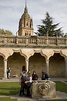 Cathedral from Patio de Escuelas Menores, University of Salamanca, Castile and Leon, Spain