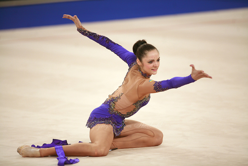 September 19, 2007; Patras, Greece;  Anna Bessonova of Ukraine expresses with ribbon (finish to routine) at 2007 World Championships Patras. Photo by Tom Theobald. ..