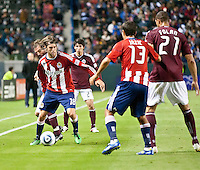 Chivas USA midfielder Blair Gavin (18) during the first half of the game between Chivas USA and Colorado Rapids at the Home Depot Center in Carson, CA, on March 26, 2011. Final score Chivas USA 0, Colorado Rapids 1.
