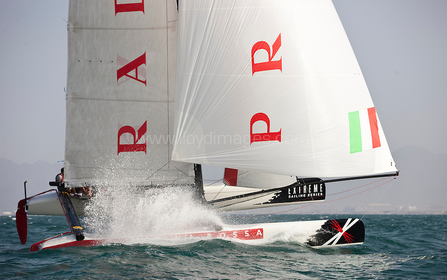 Extreme Sailing Series 2011. Leg 1. Muscat. Oman.Day 2 of racing. Luna Rossa, skippered by Max Sirena with Paul Campbell James, Alister Richardson and Manuel Modena