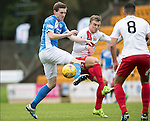 St Johnstone v Kilmarnock&hellip;15.10.16.. McDiarmid Park   SPFL<br />Blair Alston battles with Martin Smith<br />Picture by Graeme Hart.<br />Copyright Perthshire Picture Agency<br />Tel: 01738 623350  Mobile: 07990 594431
