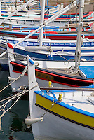 Colorful sailboats in the harbor of St. Tropez, France
